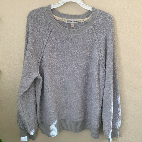 Knox Rose L Sweaters Gray Crew Neck Long Sleeve